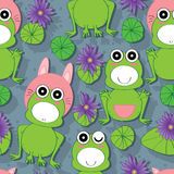 Frog Lotus Seamless Pattern. Illustration of cartoon frog with lotus seamless pattern Royalty Free Stock Photos