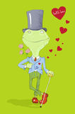 Frog with love. Postcard valentine\'s day - Frog with love Royalty Free Stock Images