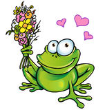 Frog with bouquet. Frog in love with bouquet Stock Photo