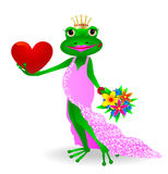 Frog in love. Cartoon princess frog with heart and flowers in their hands Stock Photography