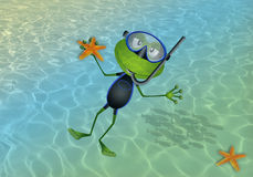 Frog that makes diving in the sea Stock Images