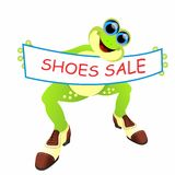 Frog with  male shoes and banner Royalty Free Stock Photo