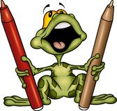 Frog with markers Stock Photography