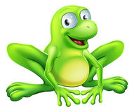 Frog mascot. A drawing of a green cute frog mascot character sitting and smiling Royalty Free Stock Photo