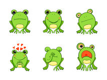 Frog mascot emoticons, smiley face, Stock Image