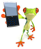 Frog with a mobile phone Royalty Free Stock Photos