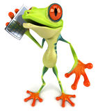 Frog with a mobile phone Royalty Free Stock Images