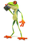 Frog with a mobile phone Stock Image