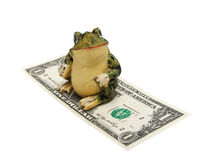 Frog and money on a white background (isolated). Figurine of a frog and money on a white background (isolated Royalty Free Stock Image