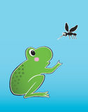Frog and mosquito Stock Photos