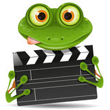 Frog with movie clapper Stock Photo