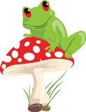 Frog and mushroom. Illustration of a green frog sitting on a red coloured mushroom Stock Photos