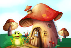 A frog beside a mushroom house Stock Photos