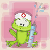 Frog nurse. With a syringe in his hand stock illustration
