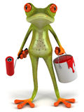 Frog with paint. Cute little frog, 3D generated picture Royalty Free Stock Photography