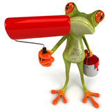 Frog with paint. Cute little frog, 3D generated picture Stock Photo