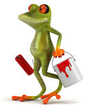 Frog with paint. Cute little frog, 3D generated picture Stock Photography