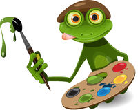 Frog painter stock image