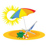 Frog on the paradise beach vector Stock Photography