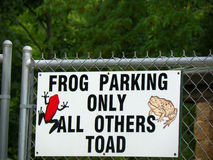 Frog Parking Only All Others Toad. A sign at the Henry Villa Zoo in Madison, Wisconsin which is part of Dane County, that says, Frog Parking Only All Others Toad Stock Photo