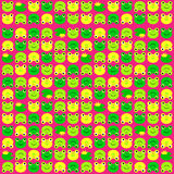 Frog pattern. Vector illustration of green and yellow frogs, pattern Stock Photography