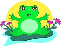 Frog with Peace Lotus Flowers Royalty Free Stock Photos