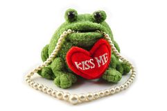 Frog and pearl necklace Royalty Free Stock Image