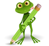 Frog with Pencil Royalty Free Stock Photos