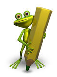 Frog and Pencil Stock Image
