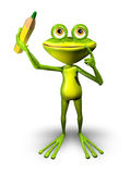 Frog with Pencil Royalty Free Stock Image