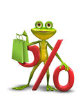 Frog and the Percent Sign Stock Photos
