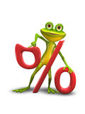 Frog and the Percent Sign Royalty Free Stock Image