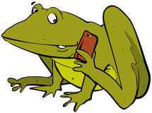 Frog phoning. Cartoon of a happy frog on phone vector illustration