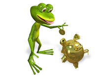 Frog with piggy bank Stock Photography