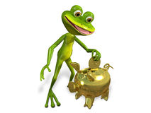 Frog with piggy bank Royalty Free Stock Images