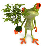 Frog with a plant. Cute little frog, 3D generated stock illustration