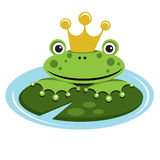 Frog prince. Vector illustration of a frog prince holding on to a lilly pad waiting to be kissed stock illustration