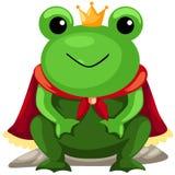 Frog prince. Illustration of isolated frog prince on white background stock illustration
