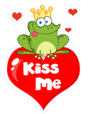 Frog prince. Over red heart Royalty Free Stock Photography