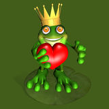 Frog Prince 3. A prince of a frog kneeling on a lily pad offering you his heart Stock Image