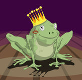 Frog prince. You have to kiss a lot of frogs to find a prince/ princess. A frog wearing a crown with lipstick on his/ her cheek vector illustration