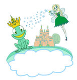 Frog Prince Cartoon Character and beautiful fairy Royalty Free Stock Image