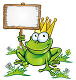 Frog with signboard. Frog prince cartoon with signboard Stock Photo