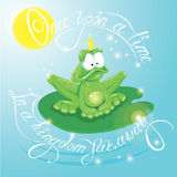 Frog Prince with Crown.  Calligraphic text  for your fairy tale Royalty Free Stock Photography