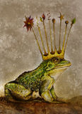 Frog prince with crown drawing. A graphite and color pencil art drawing of a toad or frog with a crown.  An abstract concept of a prince that is a frog and with Stock Photo