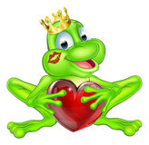 Frog prince with crown and heart. An illustration of a cute cartoon frog prince character wearing a crown holding a heart shape Royalty Free Stock Image