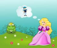 Frog prince fairytale. Beautiful princess with frog in fairytale Frog prince Royalty Free Stock Photos