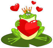 Frog prince with heart. Frog prince holding a heart royalty free illustration
