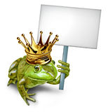 Frog Prince Holding a Blank Sign Stock Images