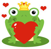 Frog prince holding a red heart. Romantic frog prince holding a red heart Royalty Free Stock Image